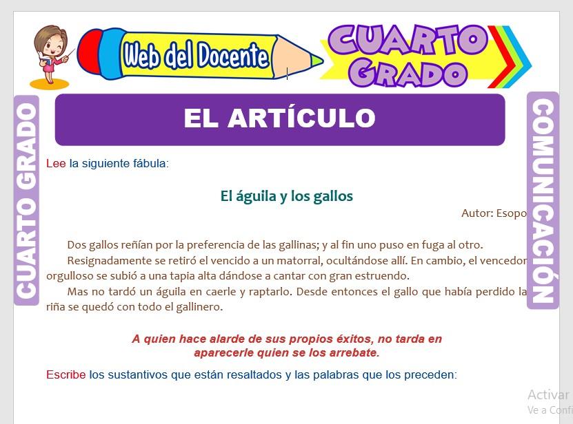 Ficha de Clases de Artículos para Cuarto Grado de Primaria