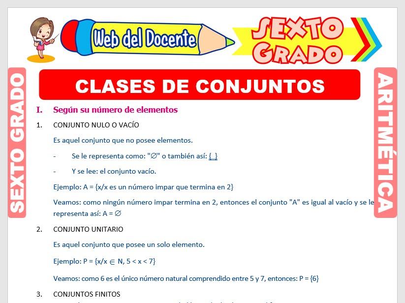 Ficha de Clases de Conjuntos para Sexto Grado de Primaria