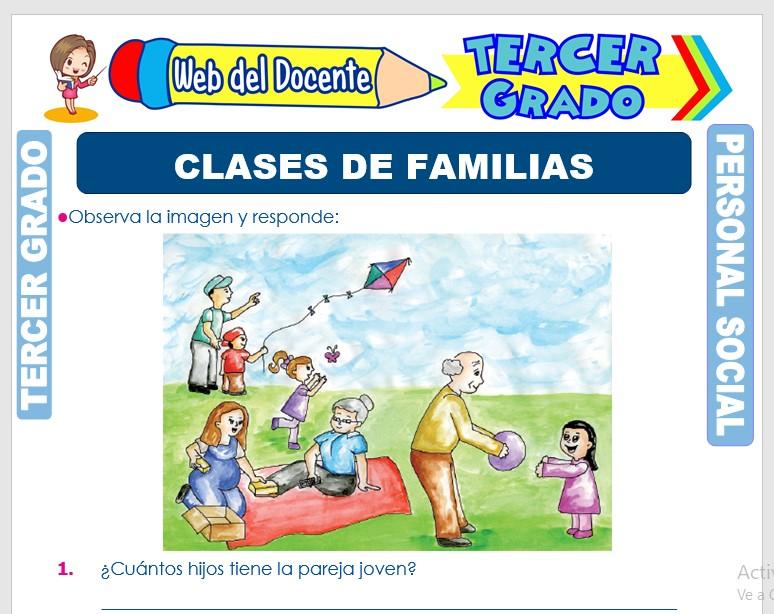 Ficha de Clases de Familias para Tercer Grado de Primaria