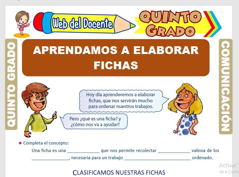 Ficha de Clases de Fichas para Quinto Grado de Primaria