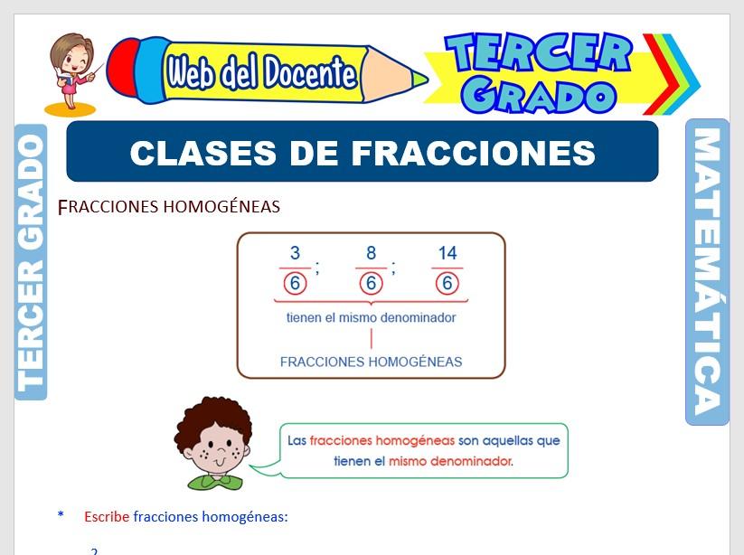 Ficha de Clases de Fracciones para Tercer Grado de Primaria