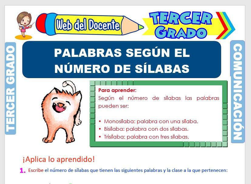 Ficha de Clases de Palabras por el Número de Sílabas para Tercer Grado de Primaria