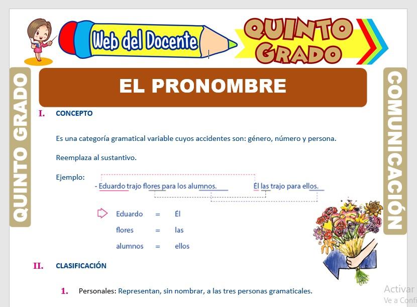 Ficha de Clases de Pronombres para Quinto Grado de Primaria