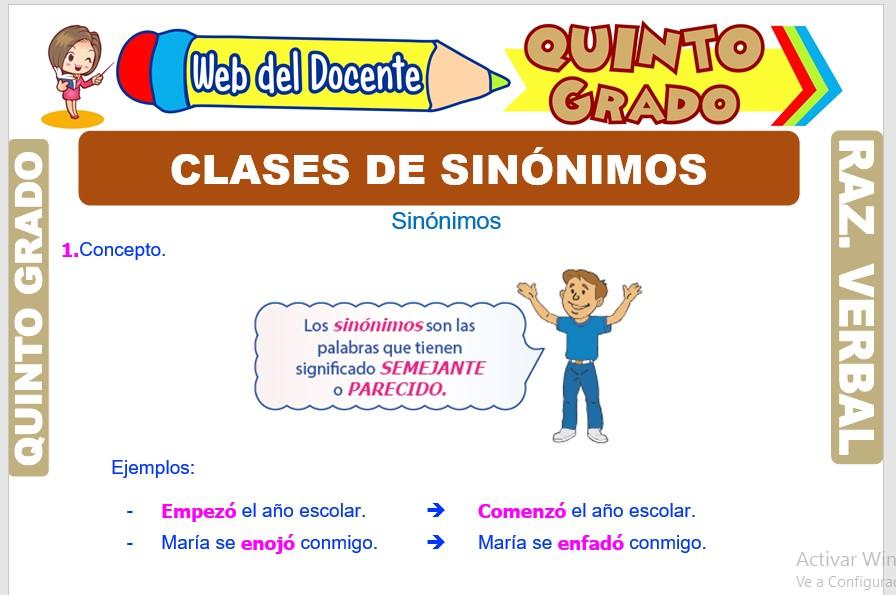 Ficha de Clases de Sinónimos para Quinto Grado de Primaria