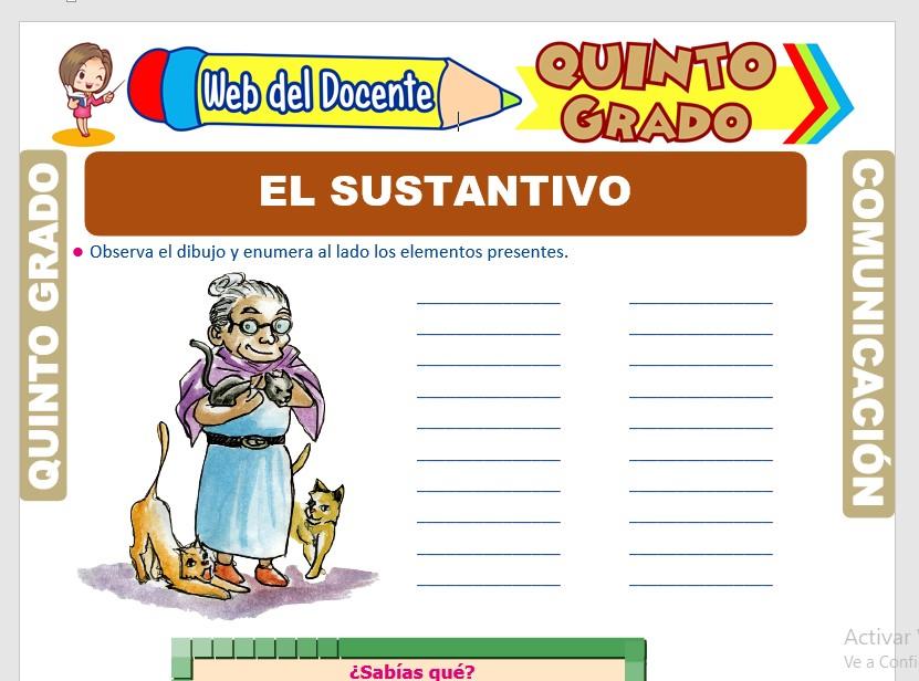 Ficha de Clases de Sustantivo para Quinto Grado de Primaria