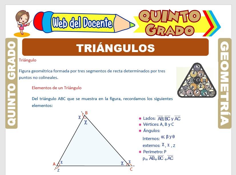 Ficha de Clases de Triángulos para Quinto Grado de Primaria