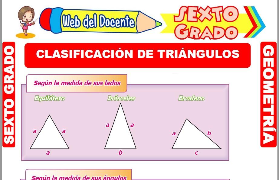Muestra de la Ficha de Clasificación de Triángulos para Sexto Grado de Primaria