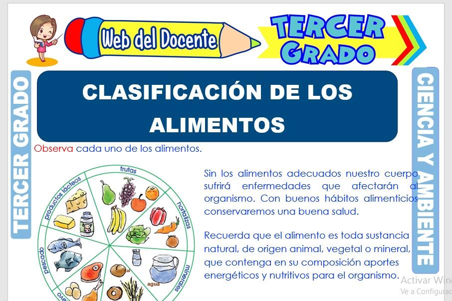 Ficha de Clasificación de los Alimentos para Tercer Grado de Primaria
