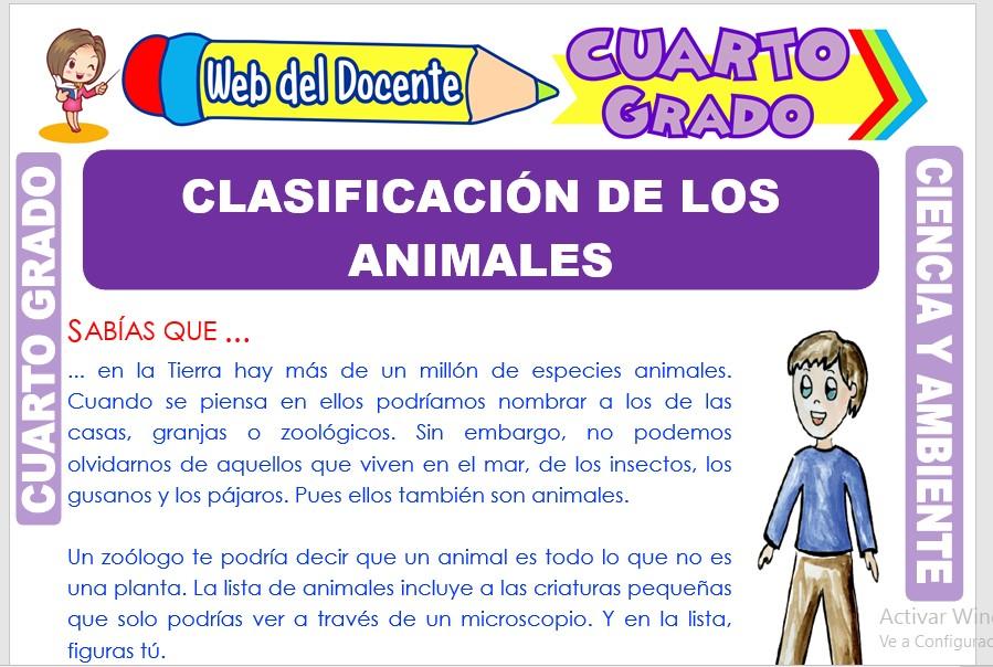Ficha de Clasificación de los Animales para Cuarto Grado de Primaria