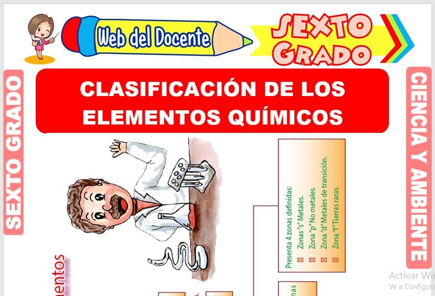 Ficha de Clasificación de los Elementos Químicos para Sexto Grado de Primaria
