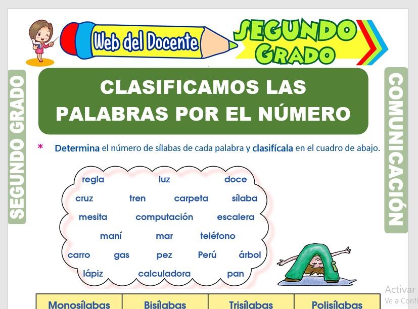 Ficha de Clasificación las Palabras por el Número de Sílabas para Segundo Grado de Primaria