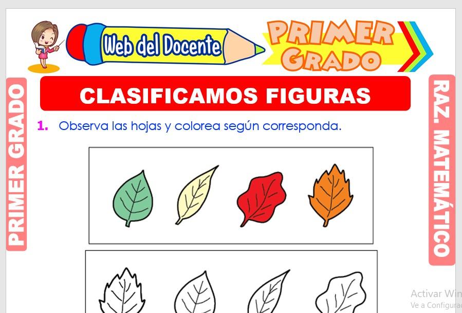 Ficha de Clasificamos Figuras para Primer Grado de Primaria
