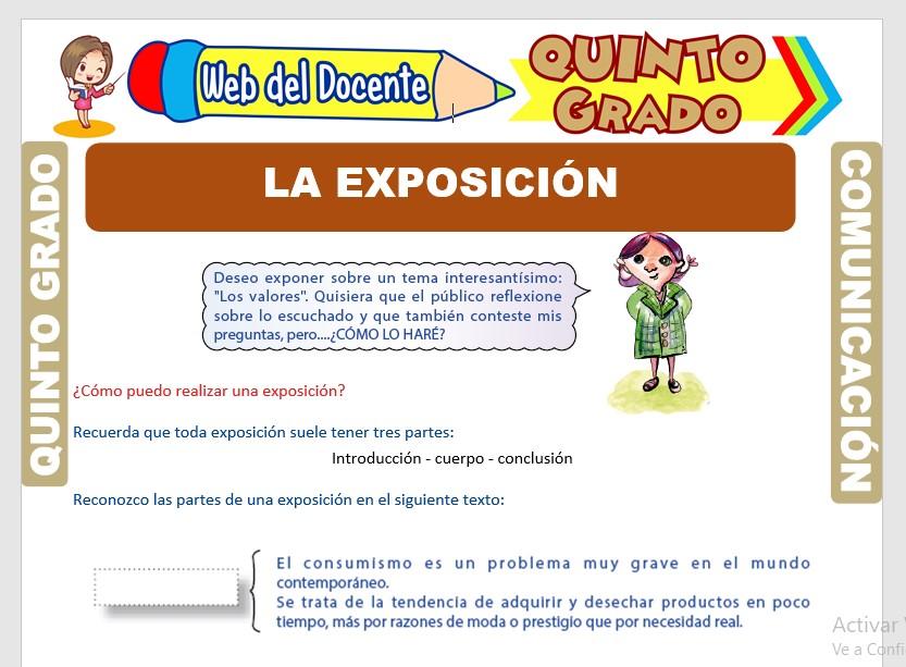 Ficha de Como Realizar una Exposición para Quinto Grado de Primaria
