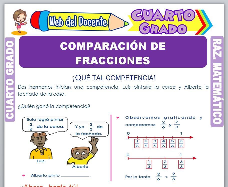 Ficha de Comparación de Fracciones para Cuarto Grado de Primaria