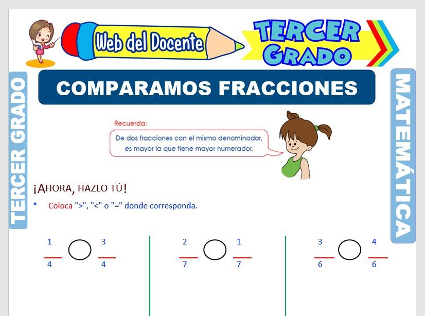 Ficha de Comparación de Fracciones para Tercer Grado de Primaria