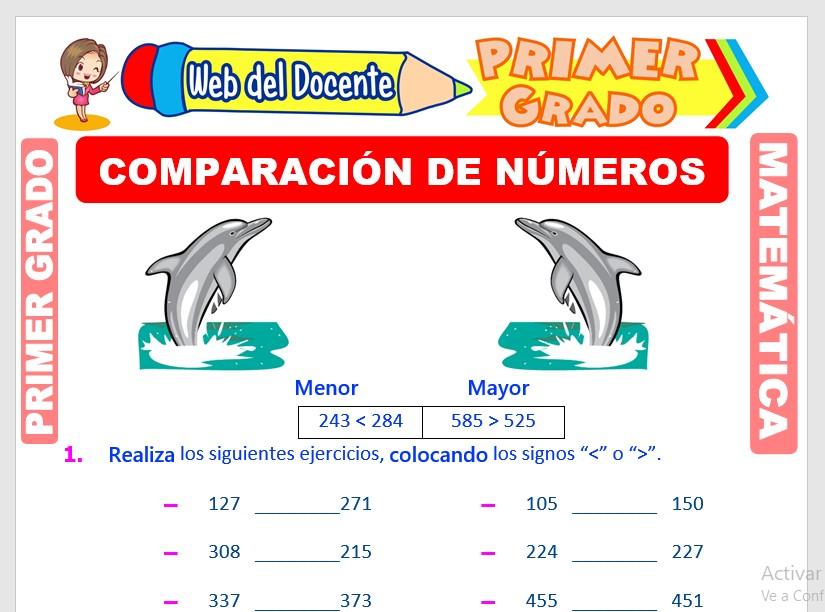 Ficha de Comparación de Números de 3 Cifras para Primer Grado de Primaria