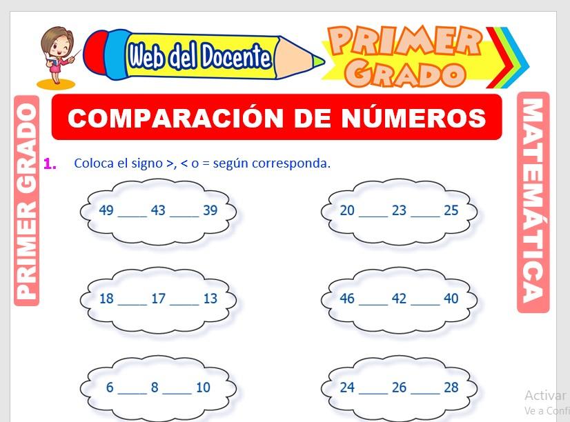 Ficha de Comparación de Números para Primer Grado de Primaria