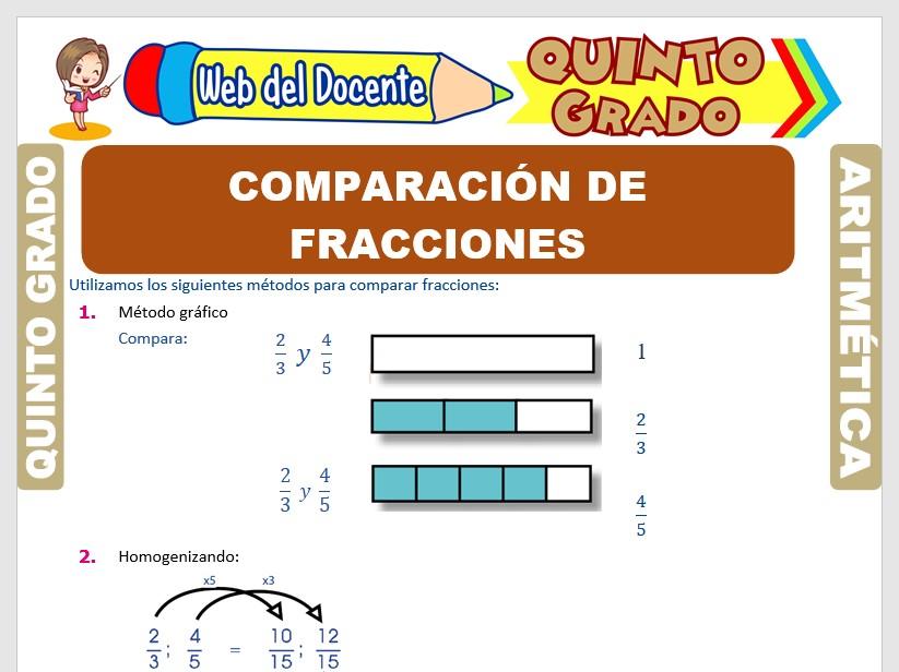 Ficha de Comparando Fracciones para Quinto Grado de Primaria