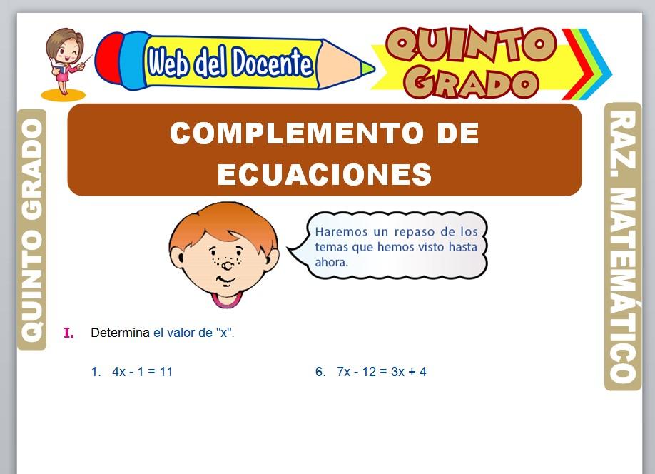 Ficha de Complemento de Ecuaciones para Quinto Grado de Primaria