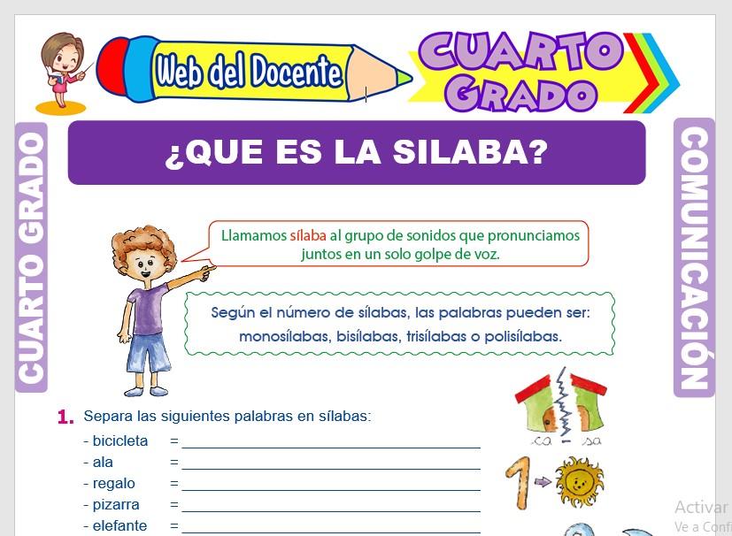 Ficha de Concepto de Sílaba para Cuarto Grado de Primaria