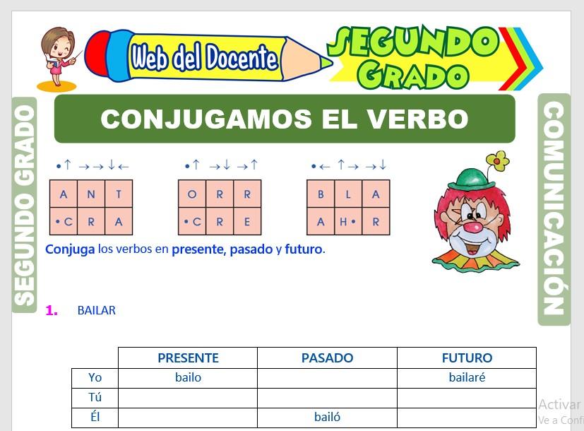 Ficha de Conjugación del Verbo para Segundo Grado de Primaria