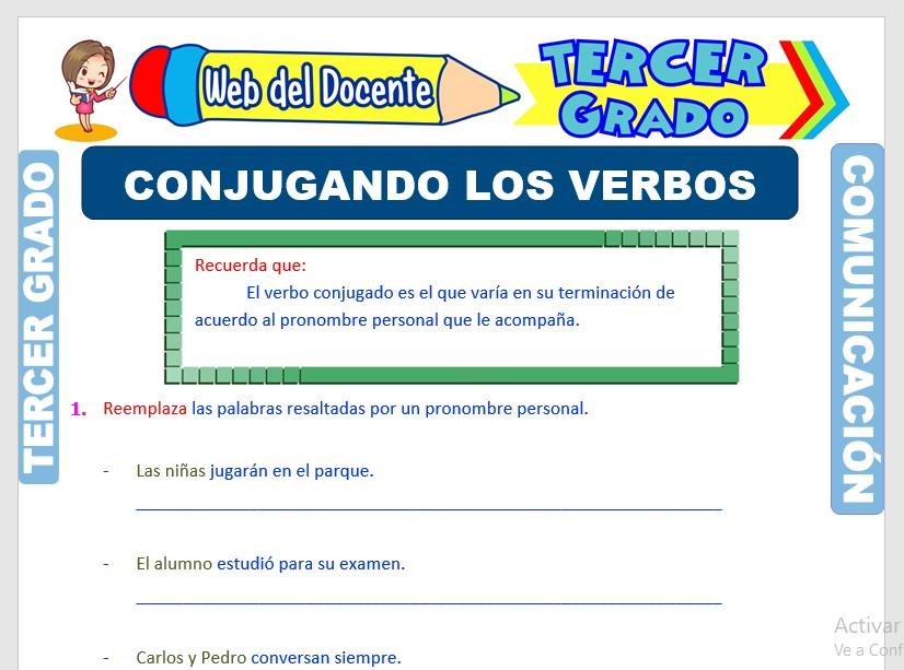 Ficha de Conjugaciones del Verbo para Tercer Grado de Primaria