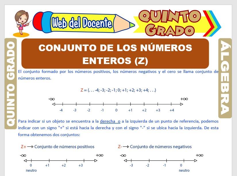 Ficha de Conjunto de los Números Enteros para Quinto Grado de Primaria