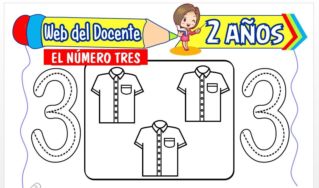Ficha de Conociendo el Número Tres para Niños de 2 Años
