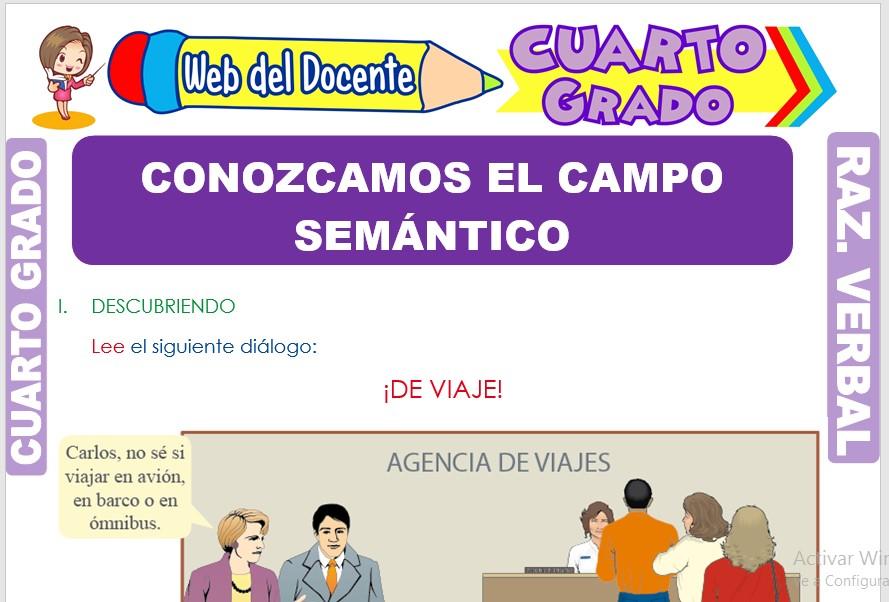 Ficha de Conozcamos el Campo Semántico para Cuarto Grado de Primaria