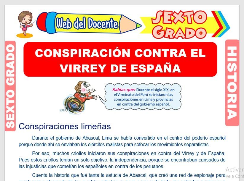 Ficha de Conspiración Contra el Virrey de España para Sexto Grado de Primaria