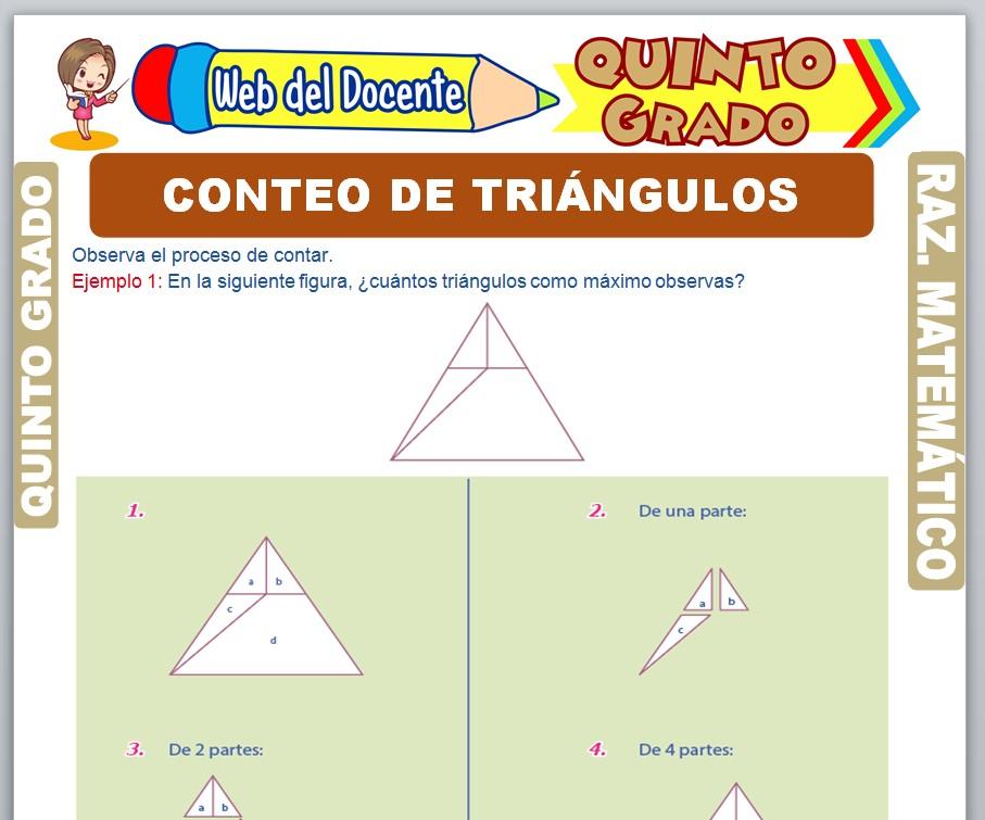 Ficha de Conteo de Triángulos para Quinto Grado de Primaria