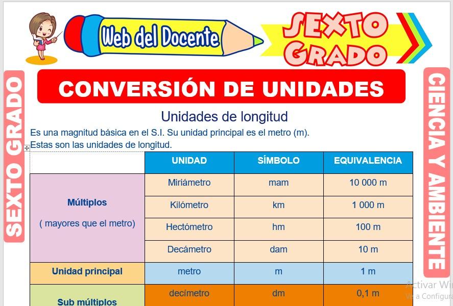 Ficha de Conversión de Unidades para Sexto Grado de Primaria