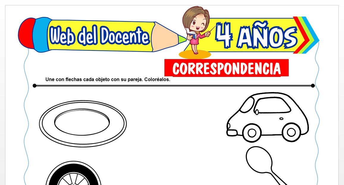 Ficha de Correspondencia para Niños de 4 AÑOS