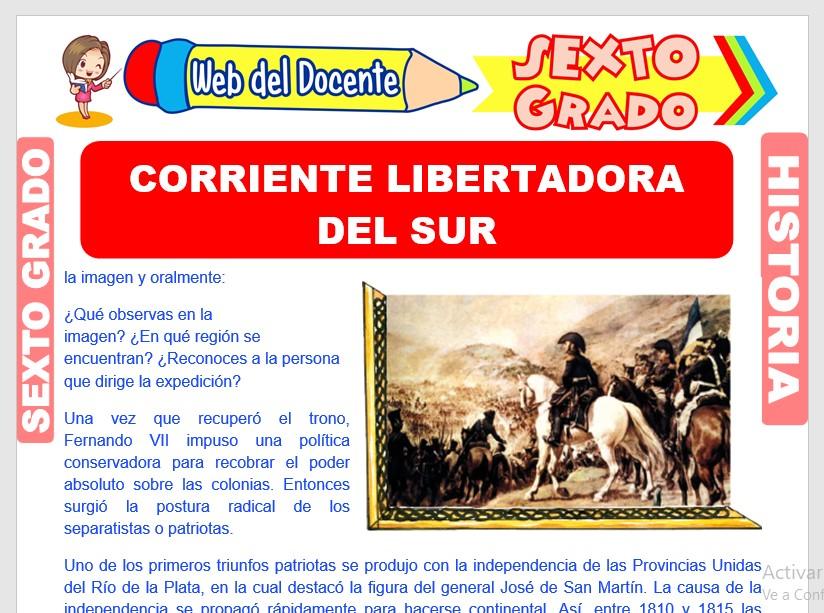 Ficha de Corriente Libertadora del Sur para Sexto Grado de Primaria