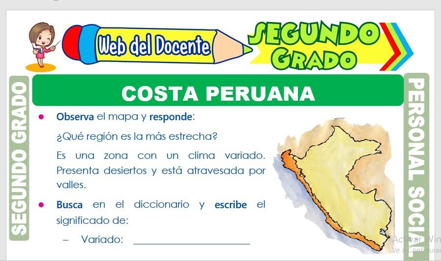 Ficha de Costa Peruana para Segundo Grado de Primaria