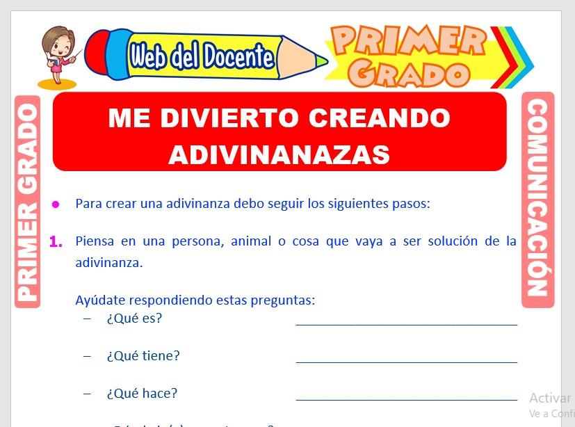 Ficha de Creación de Adivinanzas para Primero de Primaria
