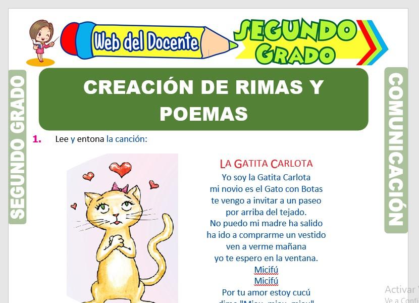 Ficha de Creación de Rimas y Poemas para Segundo Grado de Primaria