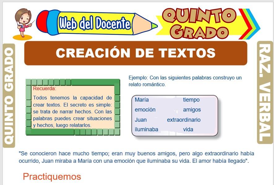 Ficha de Creación de Textos para Quinto Grado de Primaria