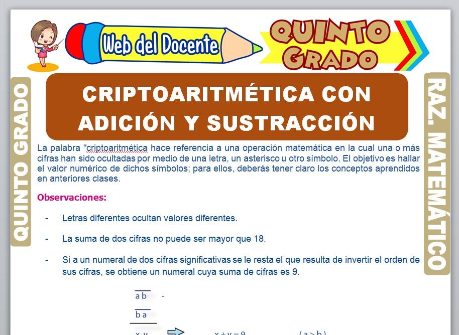 Ficha de Criptoaritmética con Adición y Sustracción para Quinto Grado de Primaria