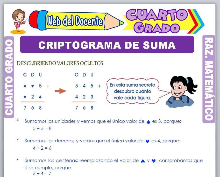 Ficha de Criptograma de Suma para Cuarto Grado de Primaria