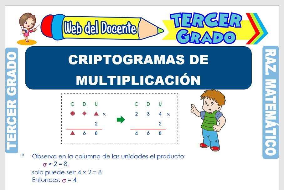 Ficha de Criptogramas de Multiplicación para Tercer Grado de Primaria