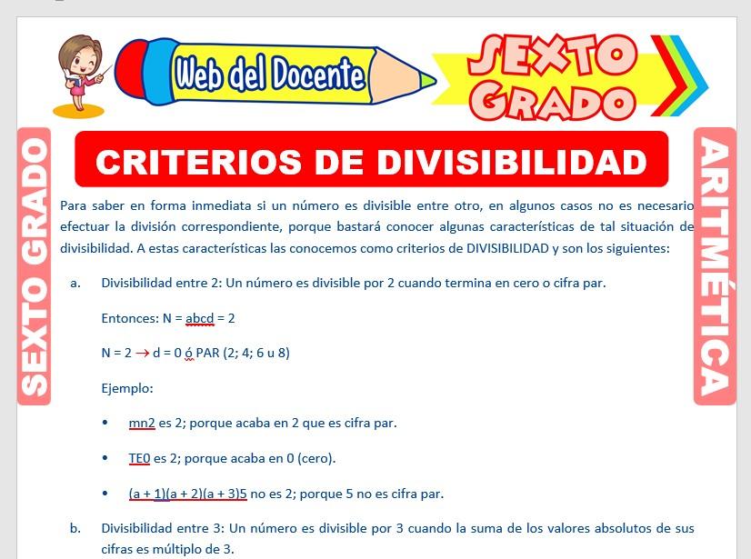 Ficha de Criterios de Divisibilidad de los Números para Sexto Grado de Primaria