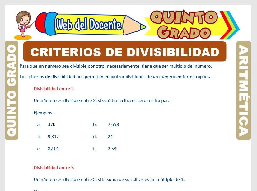 Ficha de Criterios de Divisibilidad para Quinto Grado de Primaria