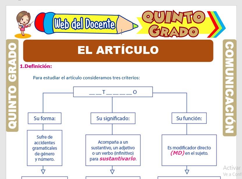 Ficha de Criterios del Artículo para Quinto Grado de Primaria