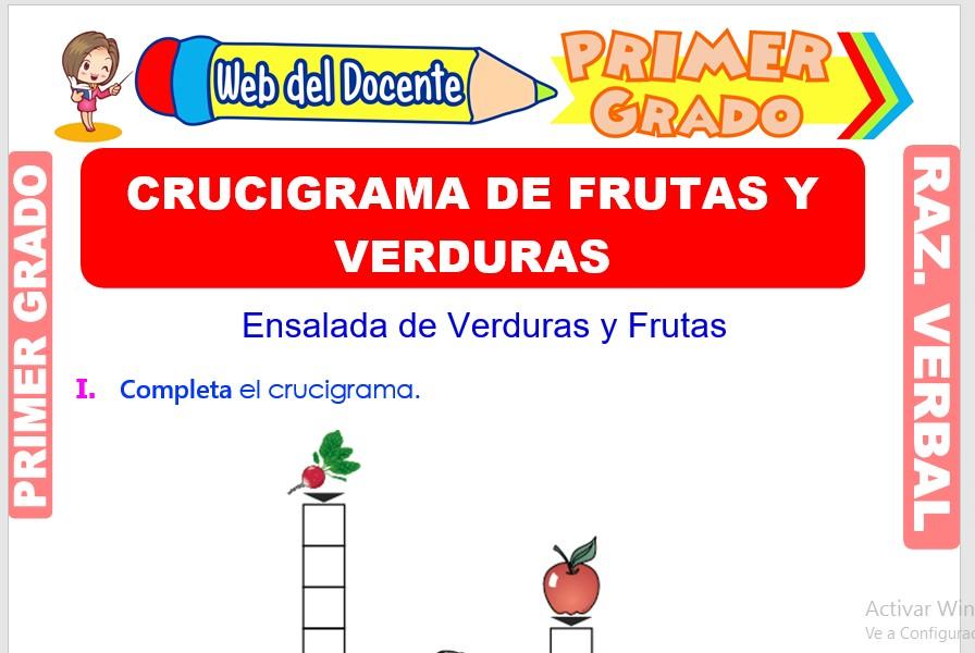 Ficha de Crucigrama de Frutas y Verduras para Primer Grado de Primaria