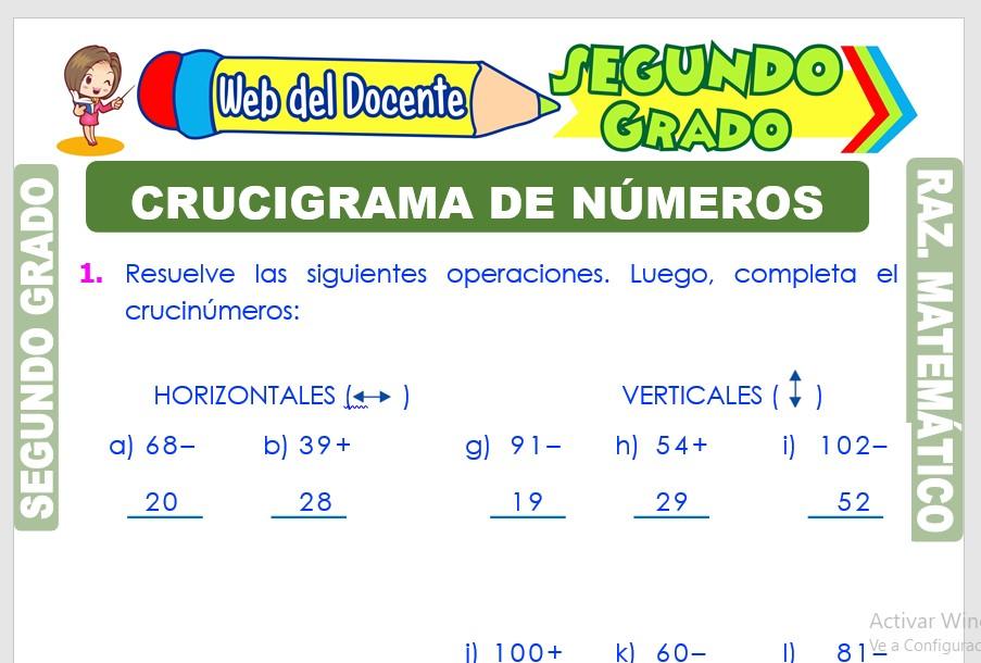 Ficha de Crucigrama de Números para Segundo Grado de Primaria