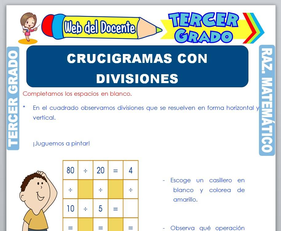 Ficha de Crucigramas con Divisiones para Tercer Grado de Primaria