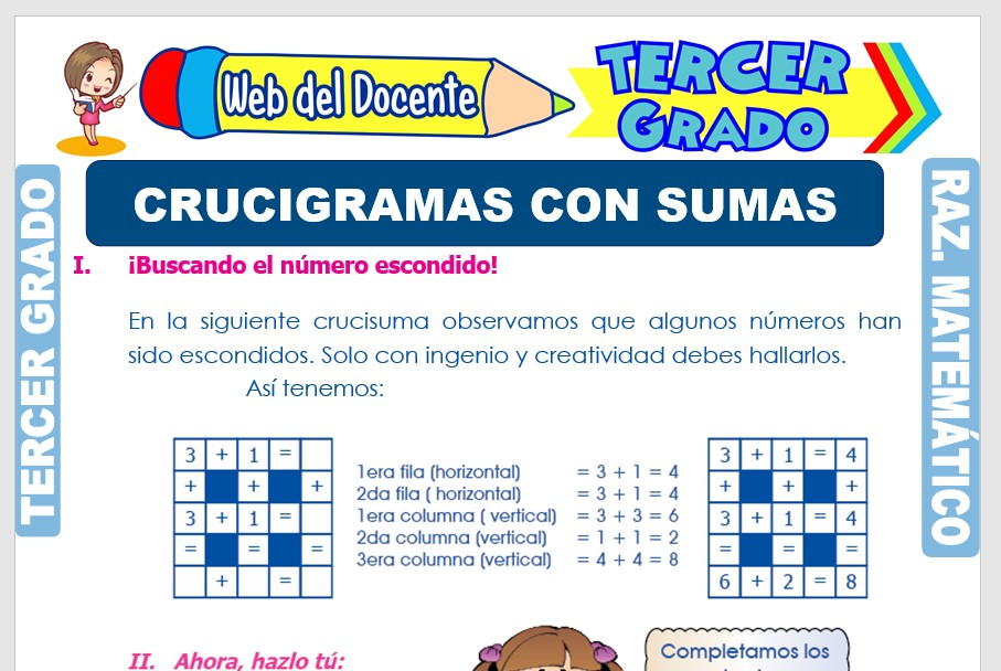 Ficha de Crucigramas con Sumas para Tercer Grado de Primaria