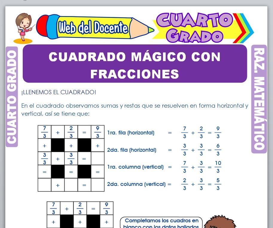 Ficha de Cuadrado Mágico con Fracciones para Cuarto Grado de Primaria