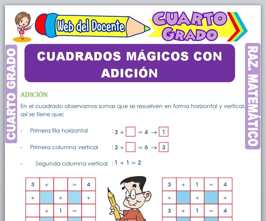 Ficha de Cuadrados Mágicos con Adición para Cuarto Grado de Primaria